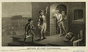"A black and white engraving, captioned ""Capture of Fort Ticonderoga"". Two men, one holding a lit lantern and the other with his left hand raised and a sword in his right hand, stand in the center, facing the doorway of a stone building to the right. A man stands in the doorway, wearing a nightgown and nightcap, and holding a lit candle on a candlestick. Behind him a woman is visible. To the right of the doorway is a small cannon or mortar. In the background on the left men in uniform are visible, as are stacked cannonballs, cannons, and a ladder leaning against a wall."