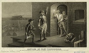 Siege of Boston - An engraving depicting Ethan Allen demanding the surrender of Fort Ticonderoga.