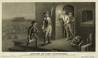 Ethan Allen - An engraving depicting  Ethan Allen demanding the surrender of Fort Ticonderoga