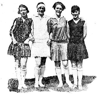 Feminism in Norway - Women wearing sporting outfits, ready to play football, from the Norwegian newspaper Aftenposten, June 16, 1928.