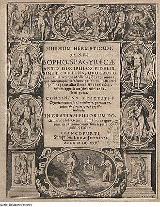 Lucas Jennis - Title page of Musaeum Hermeticum, published by Jennis in 1625.