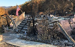 Tubbs Fire - Remains of a house on Cross Creek Road in Fountaingrove on November 1, 2017