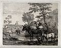 Four cows and a goat at a watering hole with a windmill in t Wellcome V0020587.jpg