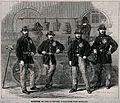 Four firemen stand in front of their fire-engine. Wood engra Wellcome V0039411.jpg