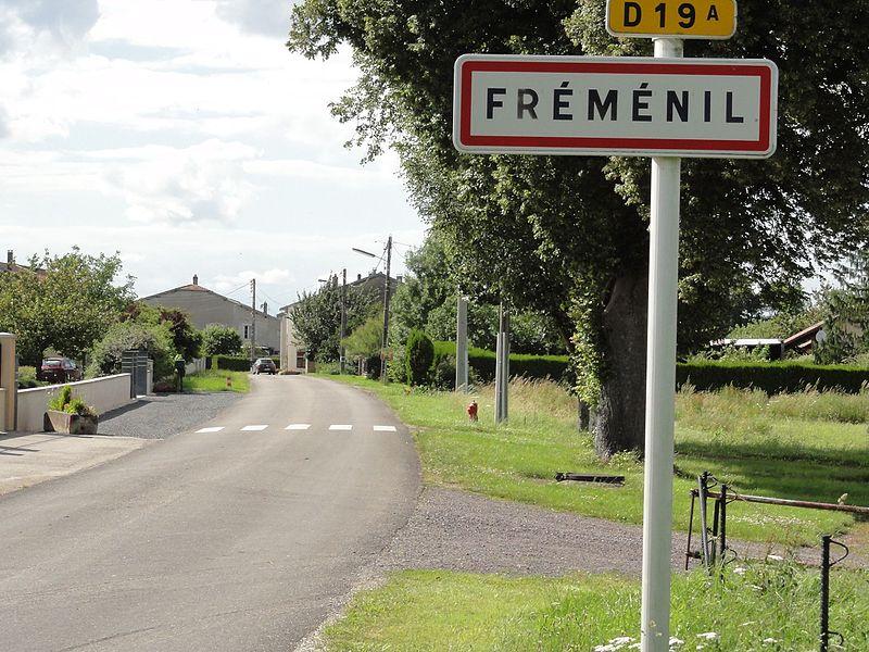 Fréménil (M-et-M) city limit sign