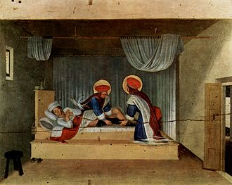 Transplantable organs and tissues - According to legend, in the third century AD, Saints Cosmas and Damian miraculously transplanted the black leg of a dead slave onto an elderly servant.