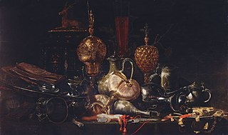 Still Life with Gold Plate and Silverware