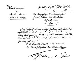 Edwin Freiherr von Manteuffel - Manteuffel's signature on a document from 20 July 1866: Frankfurt has to pay 25 million gulden war contribution within 24 hours.