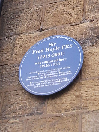 Fred Hoyle - A blue plaque at Bingley Grammar School commemorating him