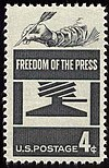 A U.S. Postage Stamp commemorating freedom of the press.