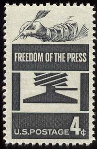 U.S. Postage Stamp commemorating freedom of the press