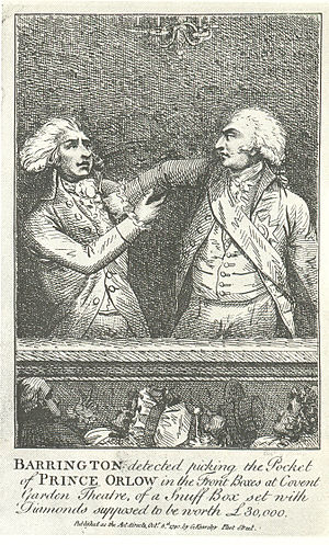 Pickpocketing - Eighteenth-century engraving showing pickpocket George Barrington being apprehended in action.
