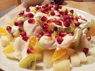 Fruit salad Dish consisting of various kinds of fruit, sometimes served in a liquid, either in their own juices or a syrup