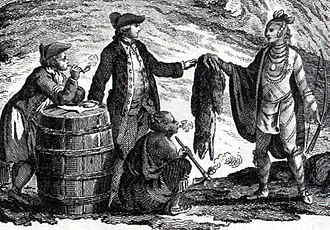 Canadian Indian residential school system - Fur traders, in what is now Canada, trading with an Indigenous person in 1777
