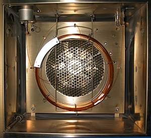 Gas chromatography - A gas chromatography oven, open to show a capillary column