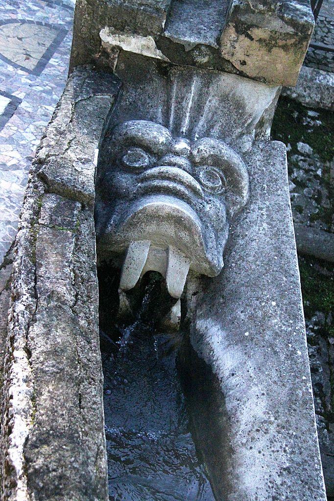 Gargoyle in the garden of the Villa d'Este, Tivoli.