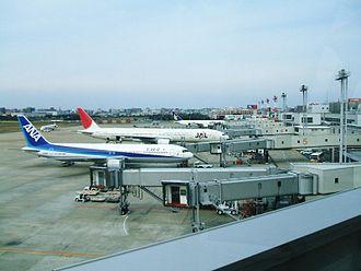 Fukuoka Airport - Aircraft of Japan Airlines and All Nippon Airways at Gates 1-6 at Terminal 3
