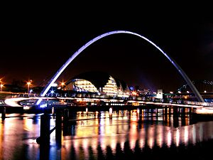 Gateshead - Gateshead Quays across the River Tyne at night – Gateshead Millennium Bridge and the Sage Gateshead