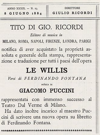 Ferdinando Fontana - Notice in Gazzetta Musicale di Milano (1884) announcing Ricordi's publication of Le Villi and their contract with Puccini to write a second opera with Fontana.