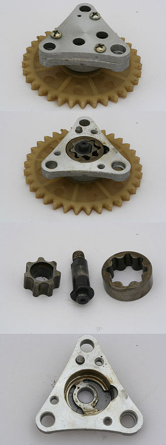 Oil pump (internal combustion engine) - Gerotor type oil pump from a scooter engine