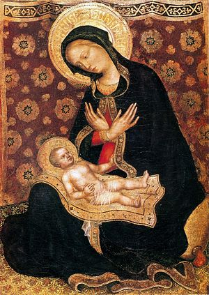 Jesus in Islam - Pseudo-Arabic on the Christ child's blanket, Gentile da Fabriano