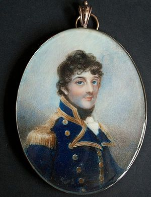 George Stewart, 8th Earl of Galloway - George Stewart wearing the naval uniform of post-captain. Watercolour on ivory by Anne Mee.