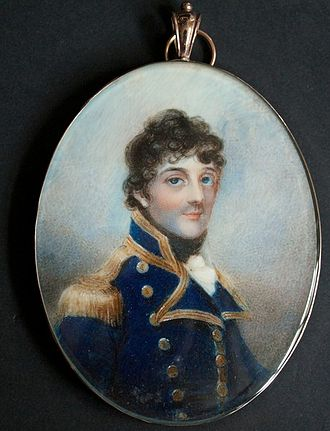 Action of 25 January 1797 - George Stewart as a post-captain. Watercolour on ivory by Anne Mee.