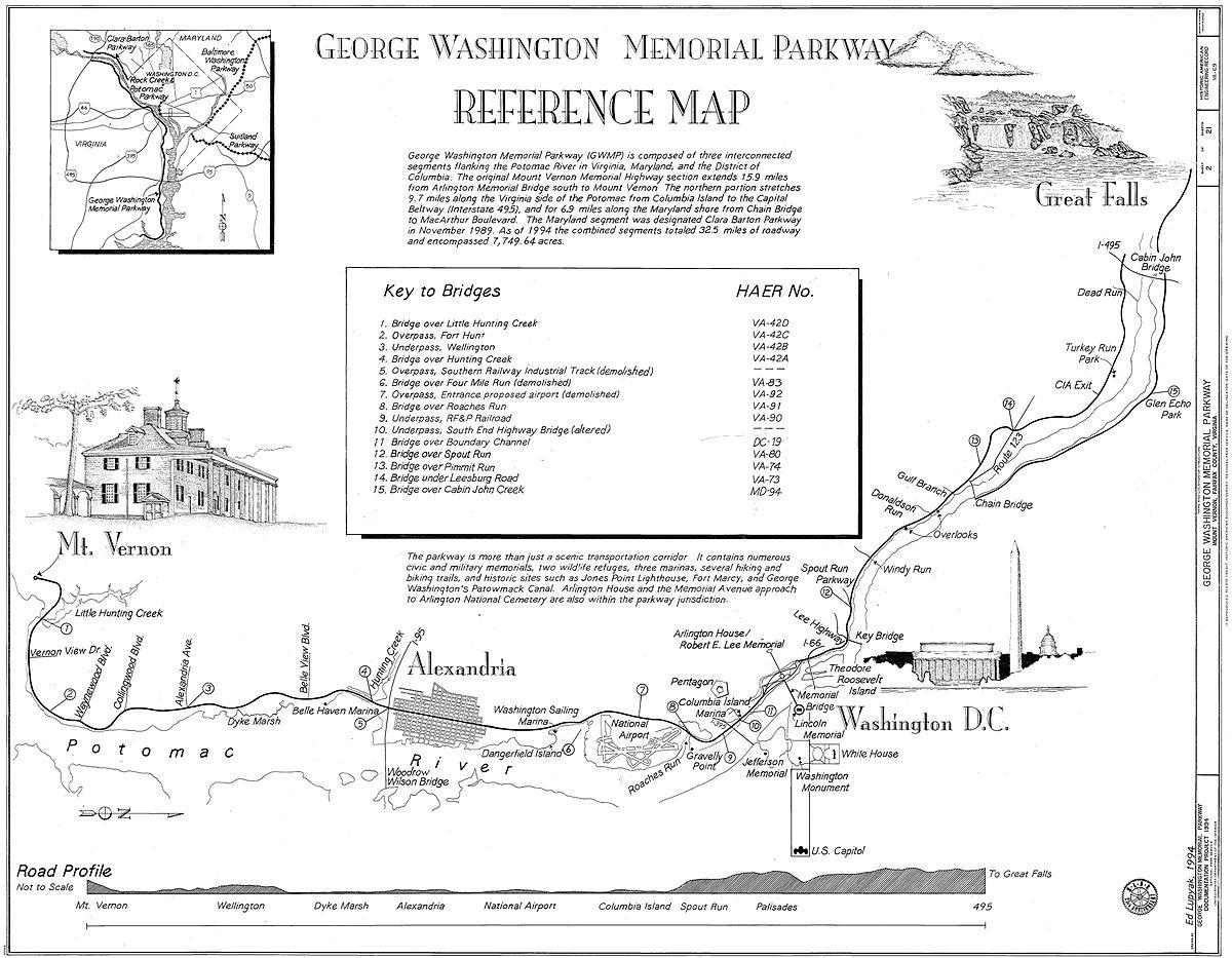 George Washington Memorial Parkway Wikipedia - Washington dc bridges map