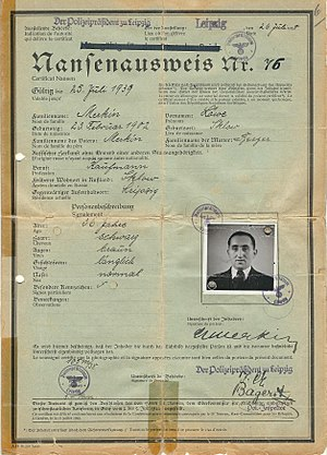 Nansen passport - German NANSEN travel document 1938 used for the United Kingdom.