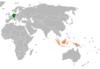 Lage von Deutschland und Indonesien