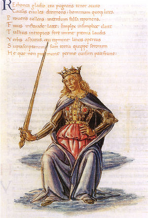 Martianus Capella - Retorica, illustration by Gherardo di Giovanni del Fora (15th century)