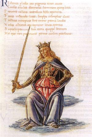 Martianus Capella - Retorica, illustration by Gherardo di Giovanni del Fora (15th century)