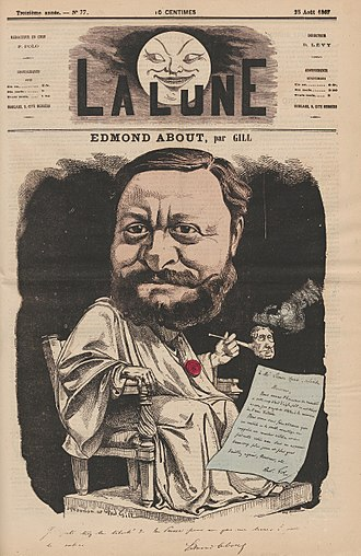 Edmond François Valentin About - Caricature of About by André Gill, 1867.