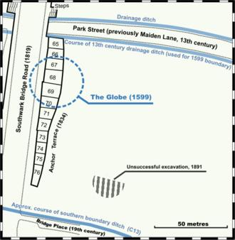 Globe Theatre - Position on modern street plan