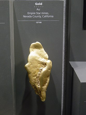 Gold nugget - A large gold nugget from Nevada County, California