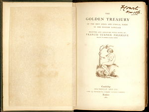Thomas Woolner - Image: Golden Treasury Title Page 1861 2