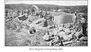 English: River diggings at Gong Gong. Gong Gon...