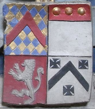 Ferdinando Gorges - Quartered arms of Gorges on the chest-tomb of Sir Edmund Gorges (d. 1512) and his wife Lady Anne Howard, showing Gorges (modern) and Russell,  All Saints Church, Wraxall