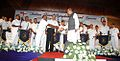 Governor of Kerala Nikhil Kumar, meeting the Indian Naval Band after a concert at Le Meridien, Kochi.jpg