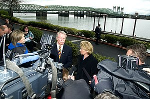 Columbia River Crossing - At an April 25, 2011, news conference in front of the Interstate Bridge, Washington Governor Christine Gregoire and Oregon Governor John Kitzhaber announced their plan for the project in 2013.