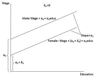 Dummy variable (statistics) - Image: Graph showing Wage = α0 + δ0female + α1education + U, δ0 0