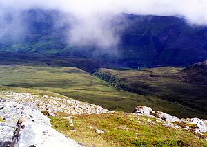 Ben Tee - Looking SW from the summit of Ben Tee, The Kilfinnan gorge and part of Loch Lochy are in view.