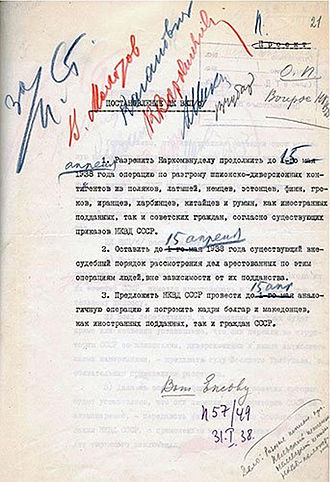 Great Purge - A list from the Great Purge signed by Stalin, Molotov, Kaganovich, Voroshilov, Mikoyan, and Chubar.