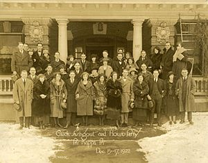 "Greek organizations at Washington & Jefferson College - The 1922 ""Greek Swingout"" at the Phi Kappa Psi house"
