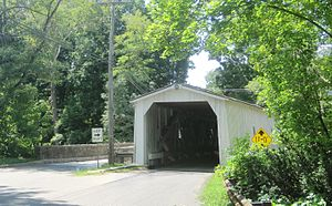 Green Sergeant's Covered Bridge - Front of the eastern side of the bridge as seen from Rosemont-Ringoes Road (CR 604)
