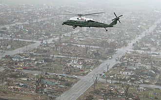 Tornado outbreak of May 4–6, 2007 - Marine One, carrying George W. Bush, flies over the devastated community of Greensburg, Kansas Wednesday, May 9, 2007.
