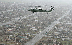 Marine One, carrying President George W. Bush, flies over Greensburg after the destructive tornado.