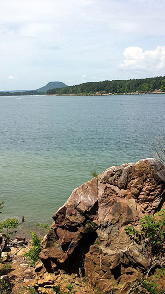 Greers Ferry Lake - Lake with Sugarloaf Mountain visible on the horizon