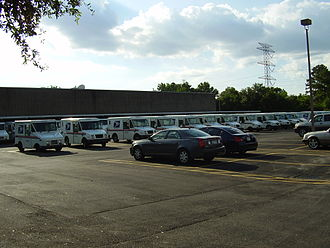 United States Postal Service - A fleet of post office vehicles at the James Griffith Station in Spring Branch, Houston