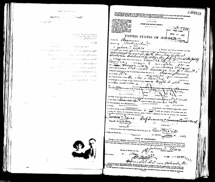 Passport application from 1922.